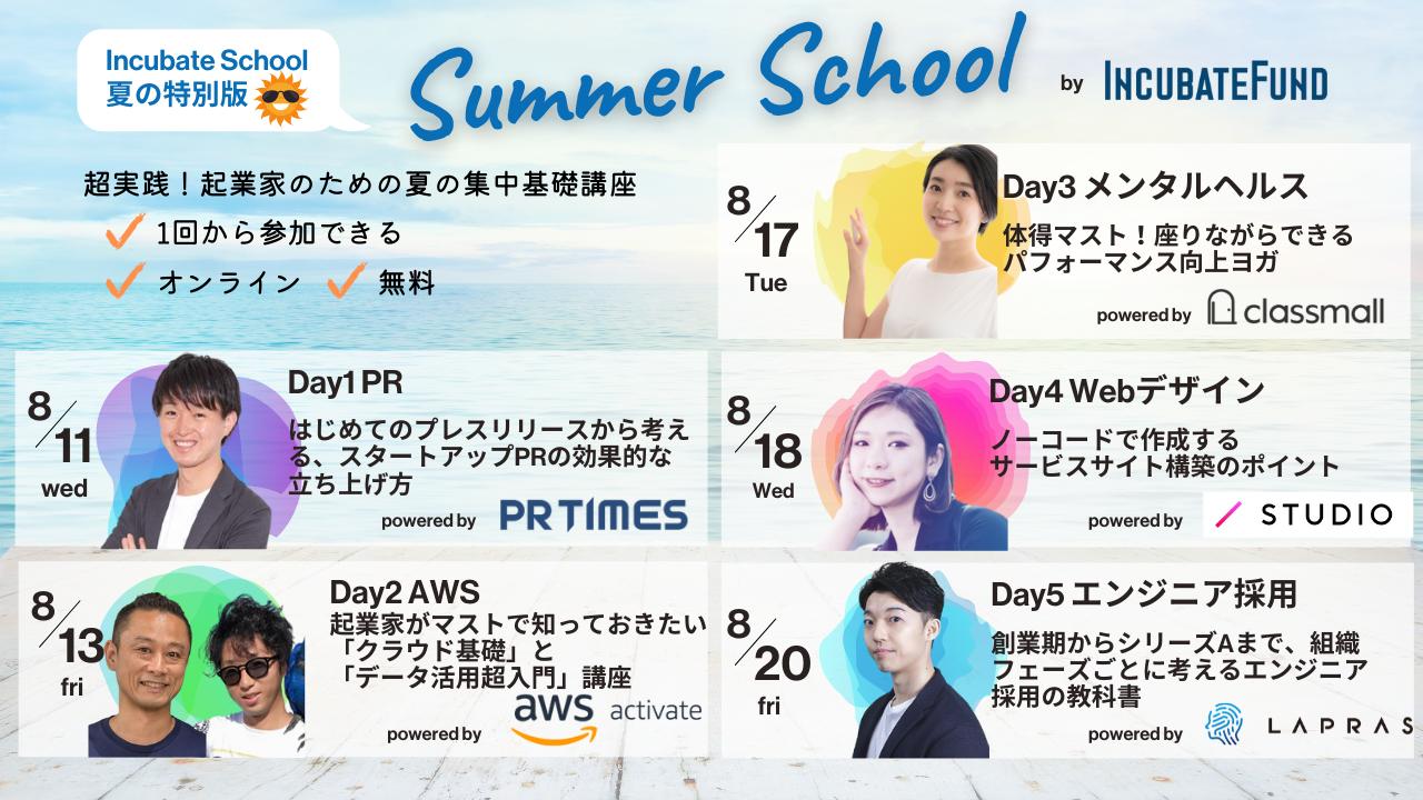 起業家のための夏の集中基礎講座 (全5回・1回から参加可能)